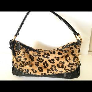 Wilsons leather Leopard hair print hobo bag